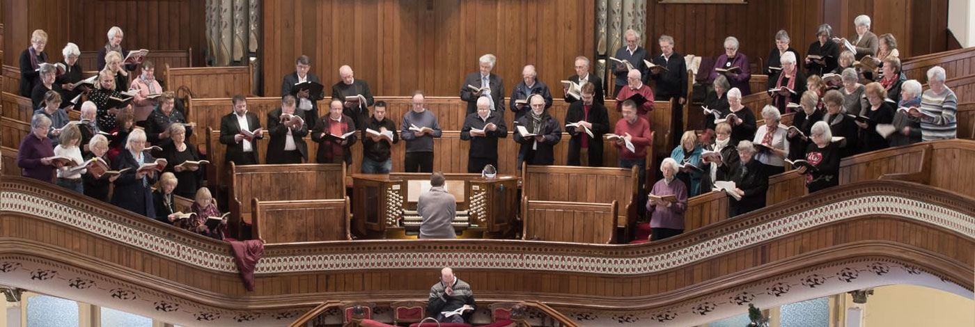 Tabernacle Morriston Choir practising for a performance